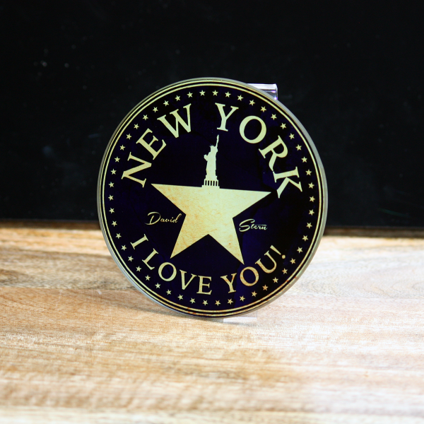 NYC - I LOVE YOU (golden) - New York City Glass Coaster