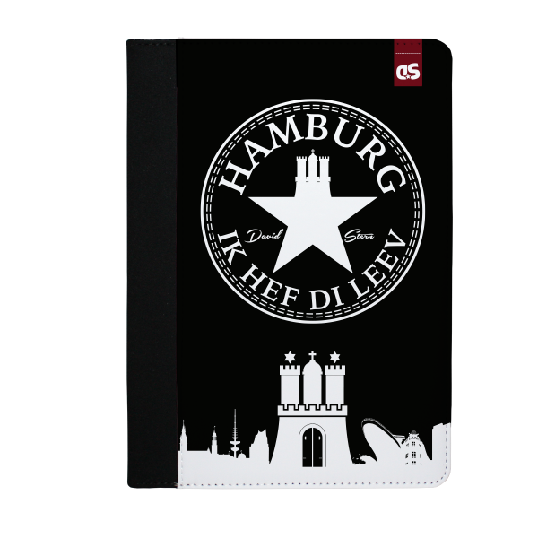 HAMBURG IHDL WhiteStar BLACK - iPad PU Leder FlipCase